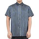 LilySilk Seidenhemd Herrenhemd mit Streifen Freizeit Hemd Herren Kurzarm aus Seide von 19 Momme M