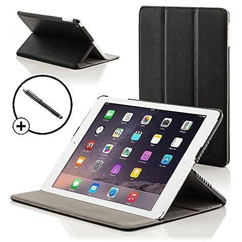 ForeFront Cases® Neue Apple iPad Air Kunstleder Hülle Schutzhülle / Ständer - Magnetische Auto Sleep/Wake-Funktion für 2013 iPad Air + WiFi 16Gb, 32Gb, 64Gb, 128Gb - inkl. Eingabestift - SCHWARZ
