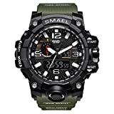 fomtty orologi da uomo orologio analogico digitale sport orologio impermeabile orologio da polso led digital orologio con cronometro per gli uomini (verde militare)