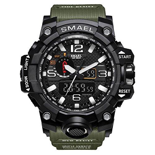Fomtty Herren Uhren Analog Digital Uhr Sportuhr Wasserdicht Armbanduhr LED Digital Uhr mit Stoppuhr für Männer (Armee-Grün)