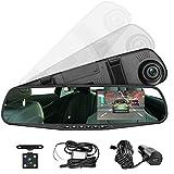 Panlelo PAC30G,Auto Dash Cam 4.3 Zoll LCD Grün Screen HD Car Video Recorder Auto Rückspiegel DVR Auto Dual Lens Front & Reversing Camera Video Recorder USB-Port-Auto-Ladegerät