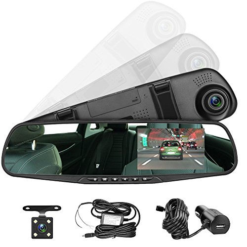 Panlelo pac30g 4.3 inch lcd verde screen car hd video recorder dual dash cam vehicle rearview mirror dvr auto dual lens front & reversing camera usb port
