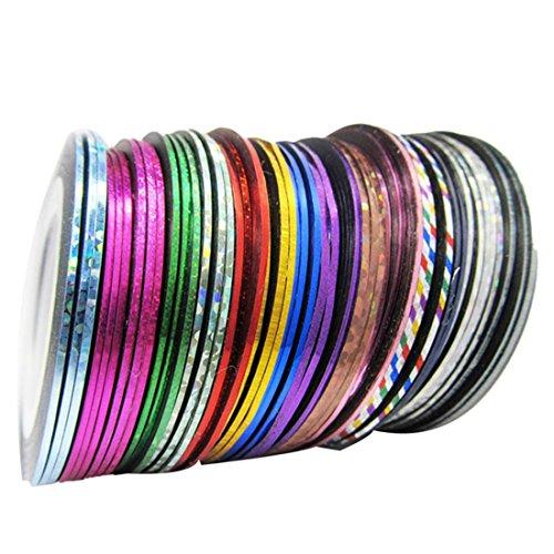 Nail Art Stickers - SODIAL(R)32pcs Couleurs Melangees Rouleaux Striping Tape Ligne Nail Art Sticker Decoration