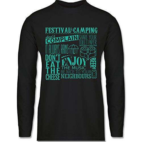 Shirtracer Festival - Festival Camping Lettering - Herren Langarmshirt Schwarz