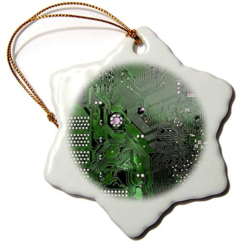 Tamengi Porzellan-Schneeflocken-Ornament, 7,6 cm, grüner Computer-Chip-Foto-Mikrochip-Motherboard-Elektronik-Schaltungen (Vintage Motherboard)