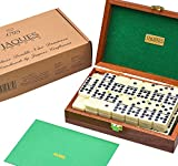 Jaques of London Luxurious Dominoes Double 9 Set - Mahogany Cased - Luxury Dominoes Set
