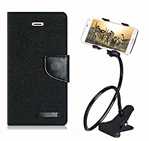 Aart Fancy Wallet Dairy Jeans Flip Case Cover for Redmi2S (Black) + 360 Rotating Bed Moblie Phone Holder Universal Car Holder Stand Lazy Bed Desktop by Aart store.