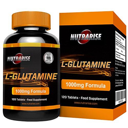 Glutamin, Bestes L-Glutamin, Aminosäurenahrungsergänzung, Kraftvolle Vorteile, Unterstützt Muskelaufbau, Verbesster Kraft und Ausdauer, Verkürzt Erholungsphasen Nach Dem Training, 1000 mg, 120 Tabletten