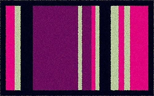 ID Mat 5080 Graphique Bayadères Tapis Paillasson Fibre Nylon/Caoutchouc Violet Gris 76 x 50 x 0,8 cm