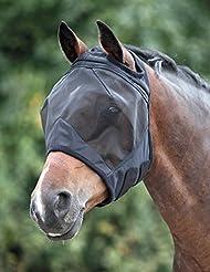 Shires Masque anti-mouches en maille fine/Capuche/Voile pour visage et oreilles de Cheval