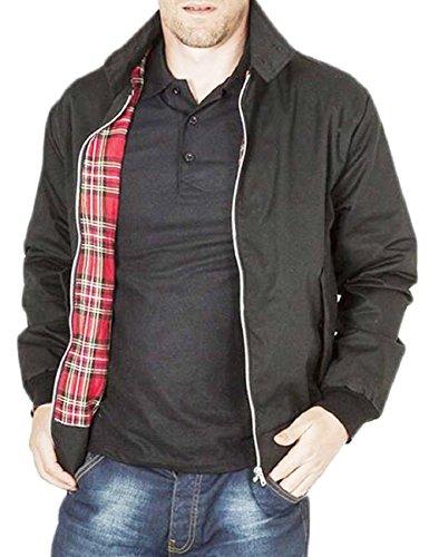 Vintage Harrington Von Wholesale Workwear - Erwachsene Harrington Jacke Britisch Mantel Klassisch 1970er Jahre Retro Scooter Kariertes Futter - Schwarz, XL