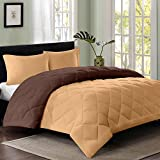 #2: Reversible AC Single Bed Comforter/Blanket/Quilt/Duvet For Winters- Light Brown & Dark Brown