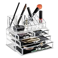 FOBUY Clear Acrylic Makeup Organiser Storage Stand Display Table for Cosmetics Set Holder, Jewellery (2 layers)