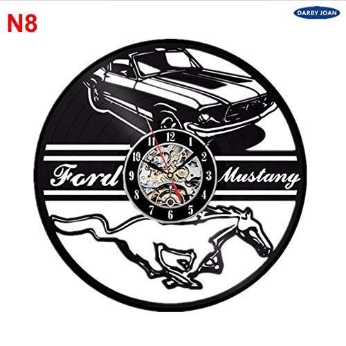 Dwthh Ford Mustang Handgemachte Vinyl Record Wanduhr Spaß Geschenk Vintage Einzigartige Home Dekor Auto Uhren