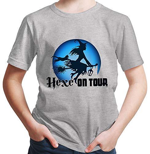 HARIZ  Jungen T-Shirt Hexe On Tour Halloween Kostüm Verkleidung Umhang Plus Geschenkkarten Hell Grau 116/5-6 Jahre