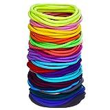 100 Count Elastic Hair Ties Ponytail Holders No Metal Multicolor Girls Hair Elastics (5 x 0.3 cm)