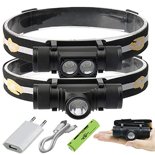 Stirnlampe, Stirnlampe, wiederaufladbare Stirnlampen, 30000 lm, Mini-LED-Scheinwerfer, L2-USB-Stirnlampe, wiederaufladbar, für die Jagd Scheinwerfer -