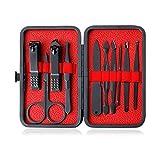 BOZEVON Set di Tagliaunghie - Manicure Grooming Kit 10 Pezzi in Acciaio Inox Cura delle Unghie Rimozione della Cuticola con Custodia da Viaggio(nero/rosso), nero/rosso
