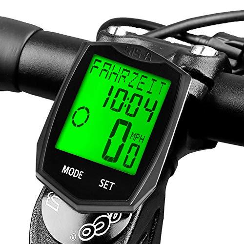 DINOKA Fahrradcomputer, Drahtlose Wasserdichte Fahrradcomputer Fahrradtacho Kilometerzähler Hintergrundbeleuchtung LCD Display Tracking Entfernung Avs Geschwindigkeit Zeit 5 Sprache Reversible