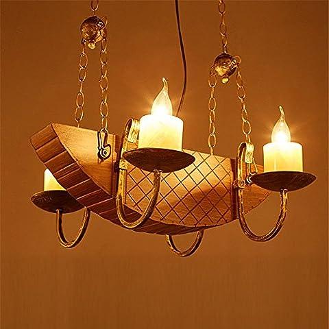 Modylee lampadari in ferro battuto stile industriale del caffè personalità creativa Retro americano antichi lampadari in legno Corsair lampada sul comodino di legno e lampade da tavolo tubo lampada corda pen