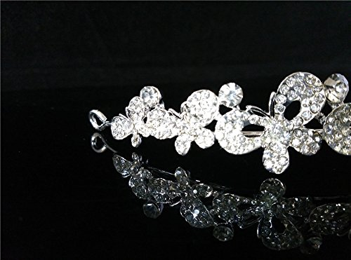 Cristal Rhinestone Mariposa Tiara Prom Corona Diadema La Dama De Honor De La Boda