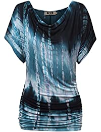 DJT Damen Rundkragen Kurzarmshirt Sommer Bluse Fledermaus Batwing T-Shirt