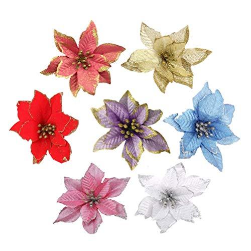 Toyvian poinsettia artificiale stella di natale fiori decorazioni albero di natale 7 pezzi