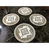 Style Your Home Round Dining Table Mats/Round Kitchen Place Mats,18 By 18 Inches Table Mats 46 X 46 Cm,Set Of - 4 Pcs (4, Gold)