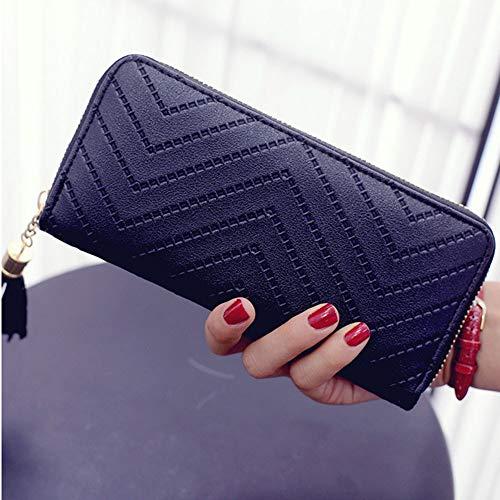 BJFYG Brieftasche Frauen Lange Brieftasche Dame Brieftasche Clutch Handtasche Scheckheft Geldbörse Quaste Geldbörse Frauen Lange, A, Schwarz (Schwarze Damen-scheckheft Brieftasche)
