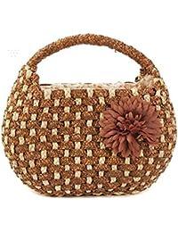 Bolsas de hombro de paja de las mujeres Tres trenzas bolso de paja de trigo Flores Bolsa de paja de hierba , brown