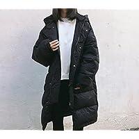 Ispessiscono il cappotto di cotone, grandi Abbigliamento dimensioni, semplice e rilassato, media lunghezza, con cappuccio a maniche lunghe addensare vestiti del cotone signore , black , m
