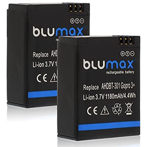 Blumax 2x Akku 1180mAh - für GoPro Hero 3 Plus 3+ / 3 Black, Silver, White - AHDBT-201, AHDBT-301, AHDBT-302, AHBBP-301, ACARC-001,