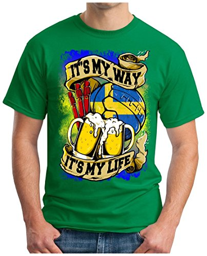 OM3 - SWEDEN-MY-WAY - T-Shirt SCHWEDEN MY LIFE EM 2016 FRANCE BIER BEER FANSHIRT SOCCER DRINK SPORT GEEK SWAG, S - 5XL Grün