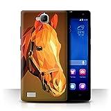 Stuff4® Hülle/Case für Huawei Honor 3C / Braunes Pferd Muster/Geometrisches Tier Tierwelt Kollektion