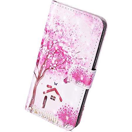 Herbests Kompatibel mit Samsung Galaxy M20 Hülle Flip Wallet Brieftasche Leder Handyhülle Retro Bunt Muster Lederhülle Handy Tasche Case Cover Klapphülle Kartenfächer,Blau Schmetterling
