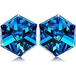 Pendientes de Plata de Ley en Azul, Cubo Cristales Swarovski