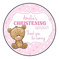 Personalised Christening Stickers For Girls Pink GLOSS Party Sweet Cone Bag Teddy Bear Polka Dot Design