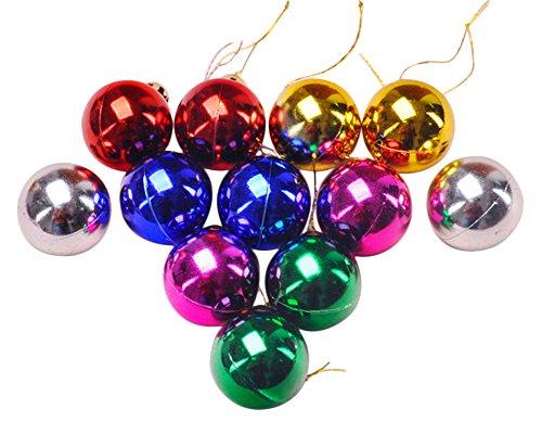 Jeu de 12 boules de d/écoration pour arbre de No/ël en plastique color/é BIGBOBA
