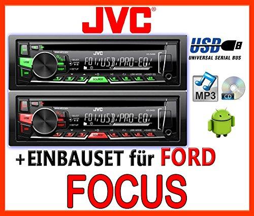 JVC KD-R469E - CD/MP3/USB Autoradio - Einbauset für Ford Focus MK1 - JUST SOUND best choice for caraudio (Autoradio Beste)