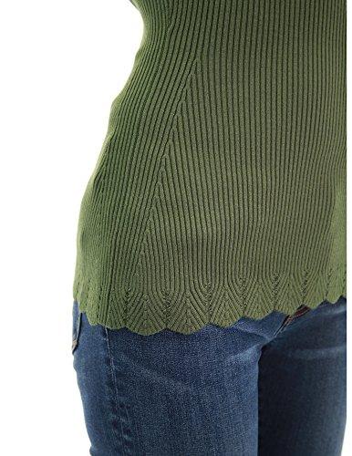 PattyBoutik Damen V-Ausschnitt Gerippt Jakobsmuschel Gestrickt Armeegrün