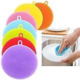 SEEKSUNG 7Pcs silicone vaisselle Lave-éponge Scrubber Nettoyage Cuisine outil antibactériennes