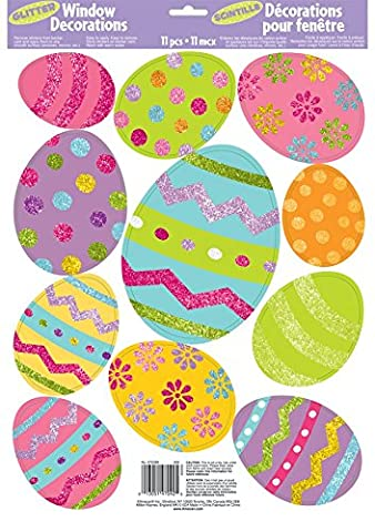 Colourful Glitter Easter Egg Window Decorations–Gluing Static Charge