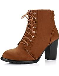 Allegra K Damen Rund Schuhe Reißverschluss Seite hohe Absätze Plattform Knöchel Stiefel, Schwarz/EU 39.5