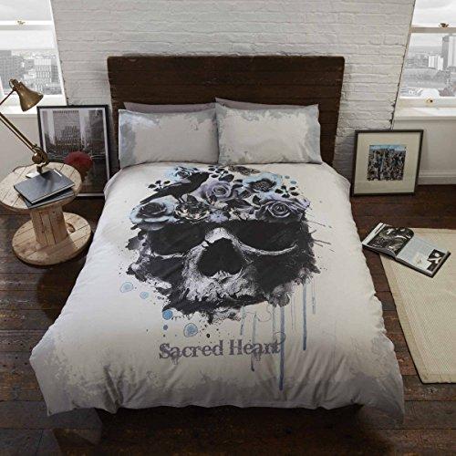 Sacred heart set letto con copripiumino e federe teschio gotico, multicolore, matrimoniale