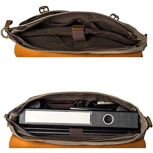 Estarer Unisex Vintage Umhängetasche Leder Canvas Laptop Schultertasche Armee Grün Größer: Armee Grün