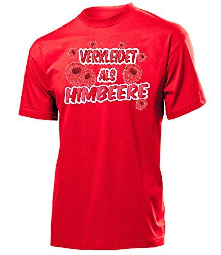 Obst Kostüm Themen - Himbeere 4990 Karneval Fasching Kostüm Herren T-Shirt Männer Paar Gruppen Outfit Klamotten Oberteil Obst Faschings Karnevals Motto Party Rot S