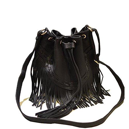 Beatayang Damentasche Tasche Schultertasche Tassel Fransen Handtasche Shoulder Bag Schwarz