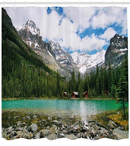 ABAKUHAUS Landschaft Duschvorhang, Kanada Ohara See Wiev, aus Stoff inkl.12 Haken Digitaldruck Farbfest Langhaltig Bakterie Resistent, 175 x 200 cm, Multicolor (Kanada-stoff)
