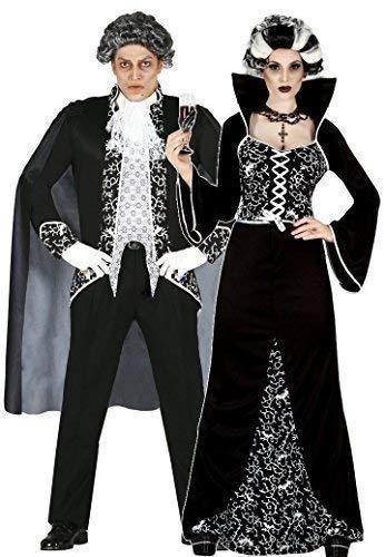 Fancy me donna e uomo coppia nero/bianco reale vampiro vestito per halloween costumi, outfit - black/bianco, uk 14-16 - mens large