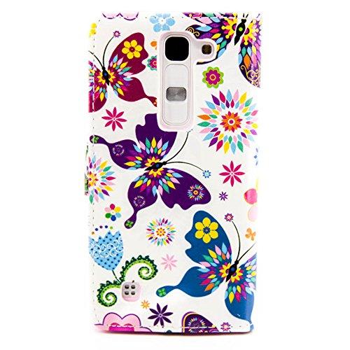 Coque pour LG Magna, Etui pour LG G4c, ISAKEN Peinture Style PU Cuir Flip Magnétique Portefeuille Etui Housse de Protection Coque Étui Case Cover avec Stand Support et Carte de Crédit Slot pour LG Mag Papillon Fleur